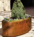 Ovale Plantenbak in Cortenstaal - 110 cm +wielen