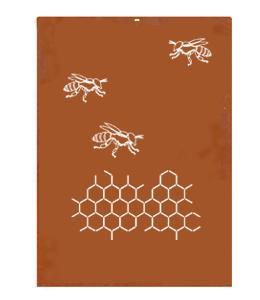 A + Concepts Cortenstaal Schutting deel 'Bijen'