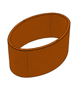 Ovale Borderbak in Cortenstaal - 150 cm
