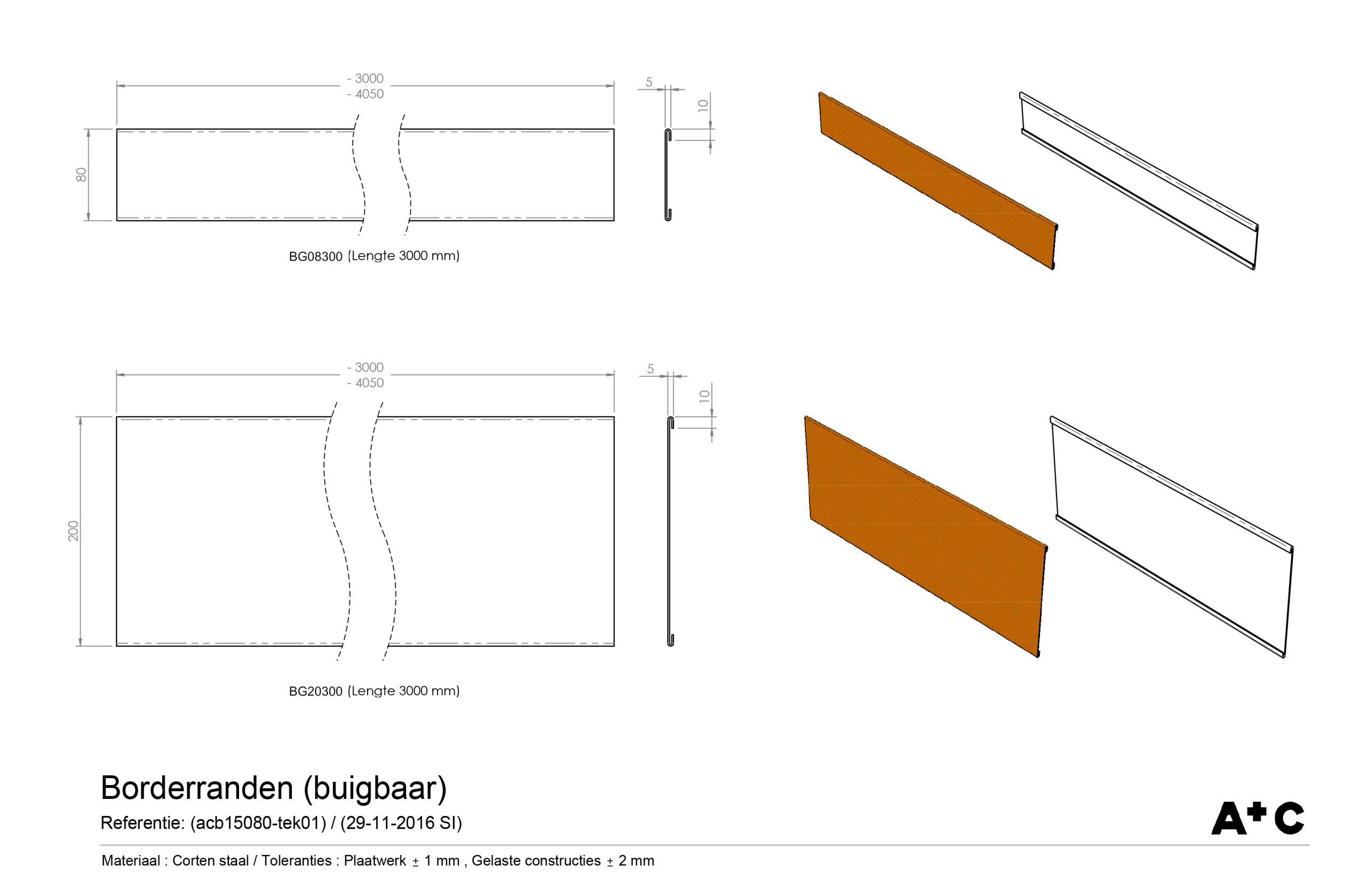 H8 | Cortenstalen buigbare Borderrand - cortenstalen producten