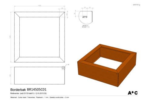 Borderbak in cortenstaal - 145 x 145 x 50 cm - cortenstalen producten