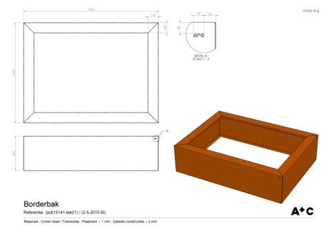 Borderbak in cortenstaal - 195 x 145 x 50 cm - cortenstalen producten