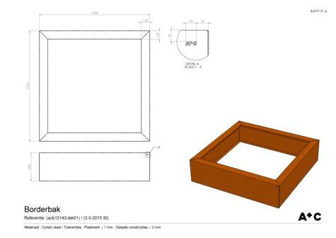 Borderbak in cortenstaal - 195 x 195 x 50 cm - cortenstalen producten