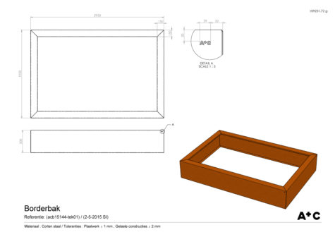 Borderbak in cortenstaal - 295 x 195 x 50 cm - cortenstalen producten
