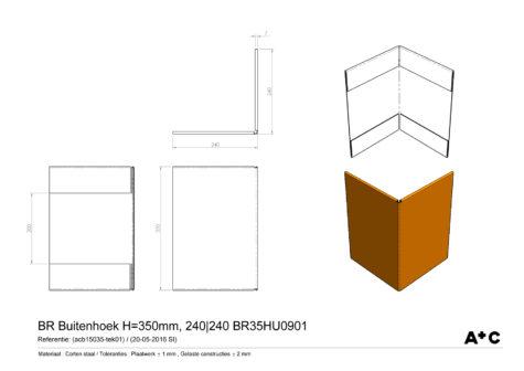 H35   Buitenhoek borderrand - cortenstalen producten