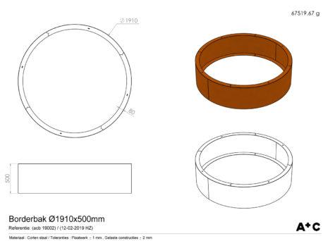 Ronde Borderbak in cortenstaal - Ø191 cm - cortenstalen producten