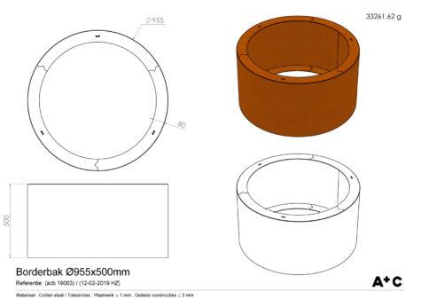 Ronde Borderbak / Plantenbak in cortenstaal - Ø95 cm - cortenstalen producten