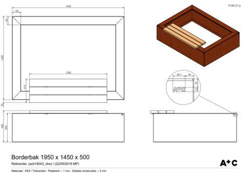 Cortenstalen Borderbak + bank 195 x 145 x 50 cm - cortenstalen producten