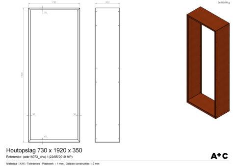 Houtopslag in cortenstaal - 192 x 73 x 35 cm - cortenstalen producten