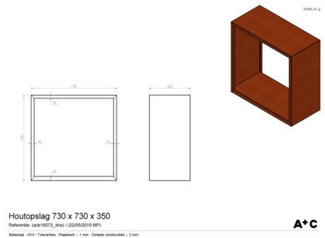 Houtopslag in cortenstaal - 73 x 73 x 35 cm - cortenstalen producten