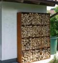 Houtopslag in cortenstaal - 200 x 150 x 40 cm