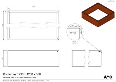 Borderbak / Plantenbak in cortenstaal - 123 x 123 x 38 cm - cortenstalen producten