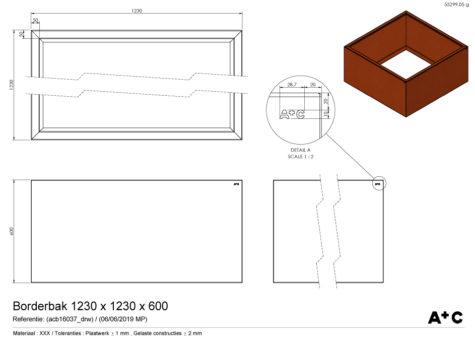 Borderbak / Plantenbak in cortenstaal - 123 x 123 x 60 cm - cortenstalen producten