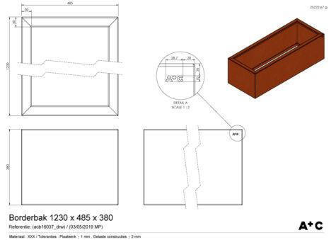 Borderbak / Plantenbak in cortenstaal - 123 x 48,5 x 38 cm - cortenstalen producten