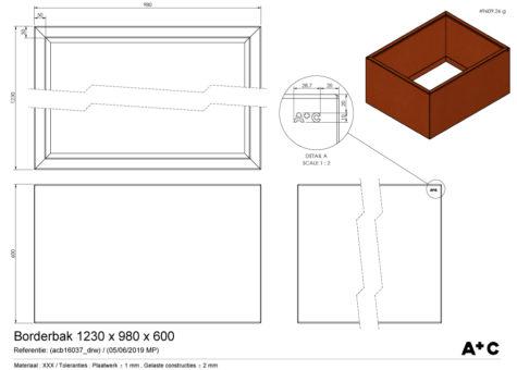 Borderbak / Plantenbak in cortenstaal - 123 x 98 x 60 cm - cortenstalen producten