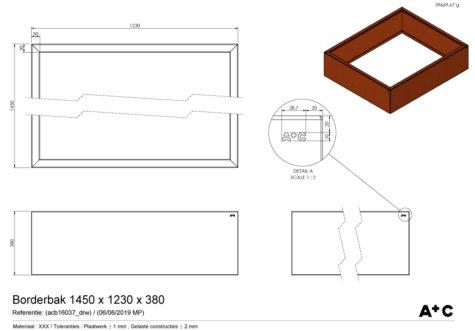 Borderbak / Plantenbak in cortenstaal - 145 x 123 x 38 cm - cortenstalen producten