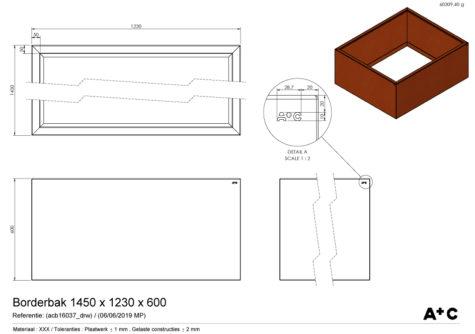 Borderbak / Plantenbak in cortenstaal - 145 x 123 x 60 cm - cortenstalen producten