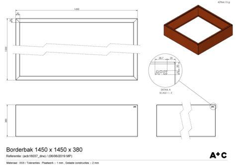 Borderbak / Plantenbak in cortenstaal - 145 x 145 x 38 cm - cortenstalen producten
