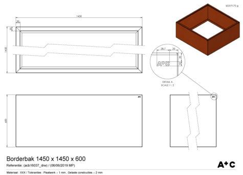 Borderbak / Plantenbak in cortenstaal - 145 x 145 x 60 cm - cortenstalen producten