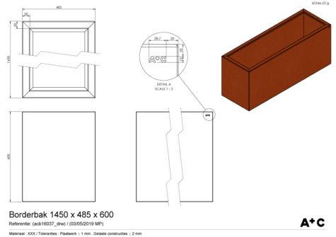 Borderbak / Plantenbak in cortenstaal - 145 x 48,5 x 60 cm - cortenstalen producten