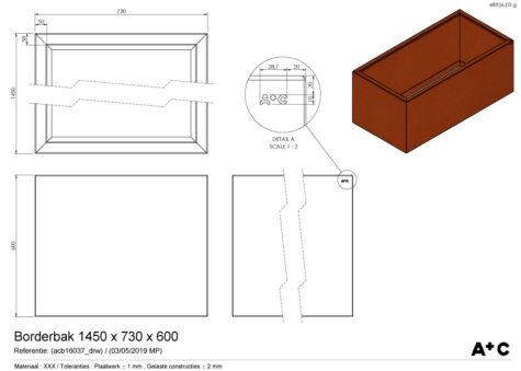 Borderbak / Plantenbak in cortenstaal - 145 x 73 x 60 cm - cortenstalen producten