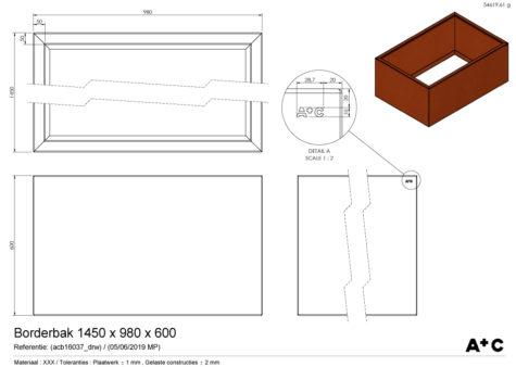 Borderbak / Plantenbak in cortenstaal - 145 x 98 x 60 cm - cortenstalen producten