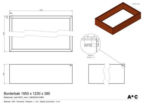 Borderbak / Plantenbak in cortenstaal - 195 x 123 x 38 cm - cortenstalen producten