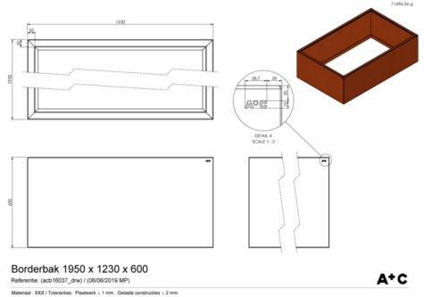 Borderbak / Plantenbak in cortenstaal - 195 x 123 x 60 cm - cortenstalen producten