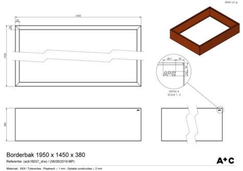 Borderbak / Plantenbak in cortenstaal - 195 x 145 x 38 cm - cortenstalen producten