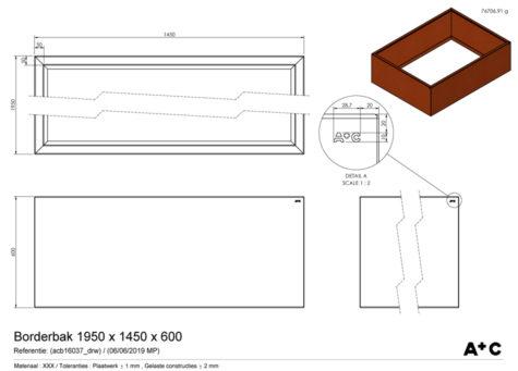 Borderbak / Plantenbak in cortenstaal - 195 x 145 x 60 cm - cortenstalen producten
