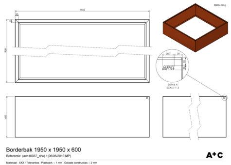 Borderbak / Plantenbak in cortenstaal - 195 x 195 x 60 cm - cortenstalen producten