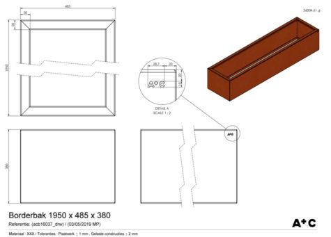 Borderbak / Plantenbak in cortenstaal - 195 x 48,5 x 38 cm - cortenstalen producten