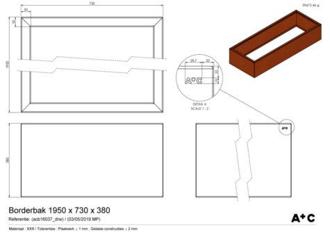 Borderbak / Plantenbak in cortenstaal - 195 x 73 x 38 cm - cortenstalen producten