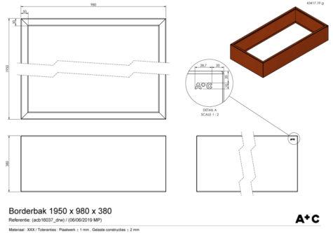 Borderbak / Plantenbak in cortenstaal - 195 x 98 x 38 cm - cortenstalen producten