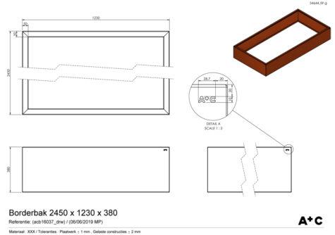 Borderbak in cortenstaal - 245 x 123 x 38 cm - cortenstalen producten