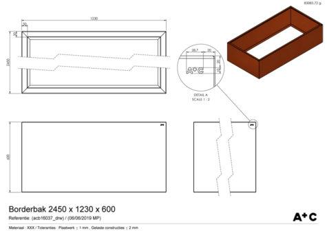Borderbak in cortenstaal - 245 x 123 x 60 cm - cortenstalen producten