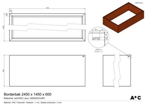 Borderbak in cortenstaal - 245 x 145 x 60 cm - cortenstalen producten