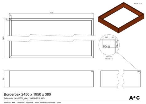 Borderbak in cortenstaal - 245 x 195 x 38 cm - cortenstalen producten