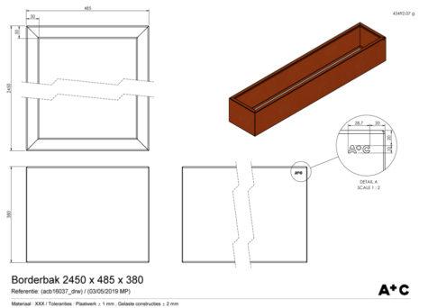 Borderbak in cortenstaal - 245 x 48,5 x 38 cm - cortenstalen producten