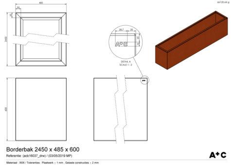 Borderbak / Plantenbak in cortenstaal - 245 x 48,5 x 60 cm - cortenstalen producten