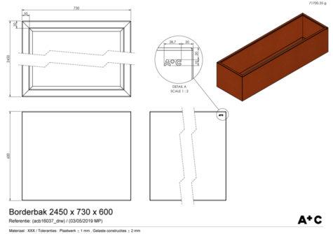 Borderbak / Plantenbak in cortenstaal - 245 x 73 x 60 cm - cortenstalen producten