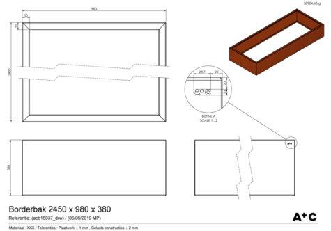 Borderbak in cortenstaal - 245 x 98 x 38 cm - cortenstalen producten