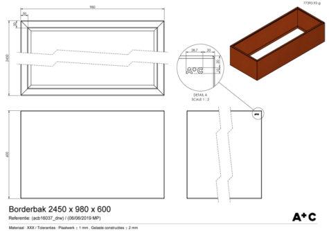 Borderbak in cortenstaal - 245 x 98 x 60 cm - cortenstalen producten