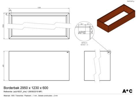 Borderbak in cortenstaal - 295 x 123 x 60 cm - cortenstalen producten