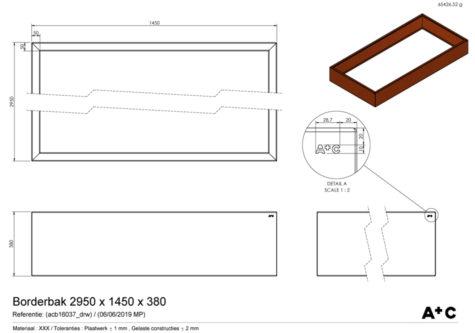 Borderbak in cortenstaal - 295 x 145 x 38 cm - cortenstalen producten