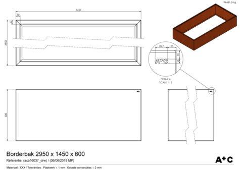 Borderbak in cortenstaal - 295 x 145 x 60 cm - cortenstalen producten
