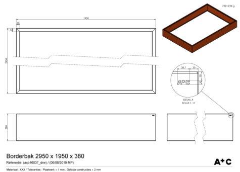 Borderbak / Plantenbak in cortenstaal - 295 x 195 x 38 cm - cortenstalen producten