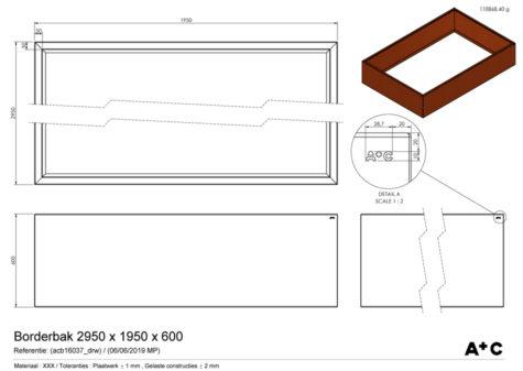 Borderbak in cortenstaal - 295 x 195 x 60 cm - cortenstalen producten