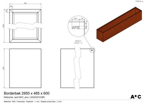 Borderbak in cortenstaal - 295 x 48,5 x 60 cm - cortenstalen producten