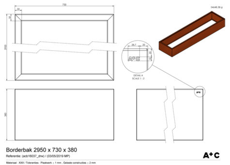 Borderbak in cortenstaal - 295 x 73 x 38 cm - cortenstalen producten